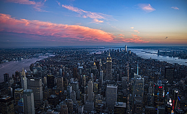 Aerial view of downtown district at sunset, USA, New York, New York City