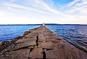 Rockland Breakwater Lighthouse seeing from pier, USA, Maine, Rockland