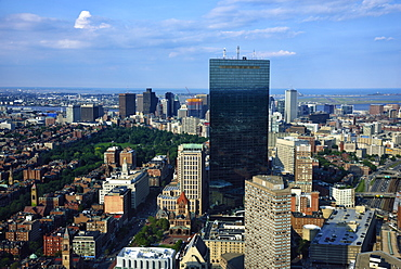 Elevated view of downtown city, USA, Massachusetts, Boston