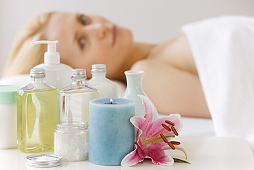 Woman laying on spa table