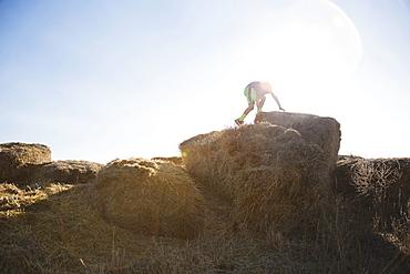Boy (6-7) climbing on bale of hay