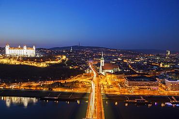 Slovakia, Bratislava, Cityscape at dusk