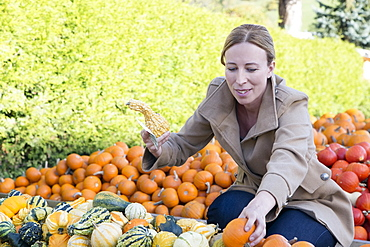 Austria, Salzburger land, Maria Alm, Mature woman amongst vegetables