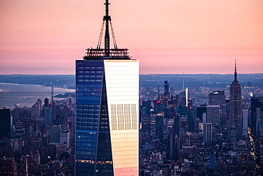 USA, New York State, New York City, One World Trade Center building at sunrise
