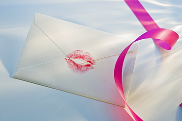 Envelope with lipstick kiss