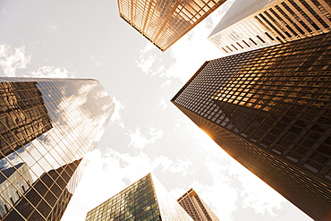 USA, New York State, New York City, Manhattan, Low angle view of office buildings