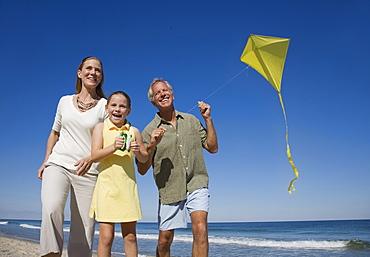 Family flying kite at beach