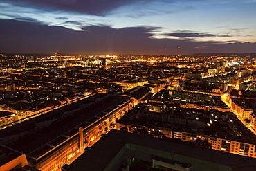 Switzerland, Basel, Basel-Stadt, Cityscape at dusk