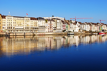 Switzerland, Basel, Basel-Stadt, Houses by Rhine River