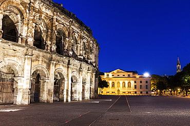 France, Occitanie, Nimes, Arena of Nimes at dusk
