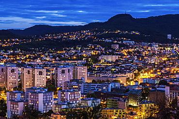 France, Auvergne-Rhone-Alpes, Clermont-Ferrand, Cityscape at dusk