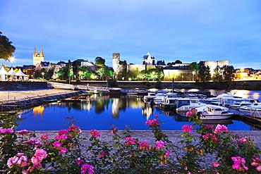 France, Pays de la Loire, Angers, Harbor by Chateau d'Angers at dusk