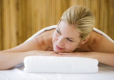 Woman on spa treatment table