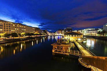 Switzerland, Geneva, Architecture of Geneva along Rhone River