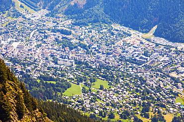 France, Auvergne-Rhone-Alpes, Chamonix, Chamonix seen from Reserve Naturelle de Carlaveyron