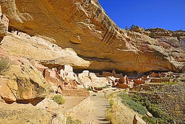 USA, Colorado, Long House pueblo ruin under cliff in Mesa Verde National Park