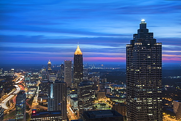 USA, Georgia, Atlanta, Cityscape with skyscrapers at dawn