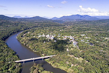 Australia, Queensland, Landscape with bridge and mountain range in background (Drone)