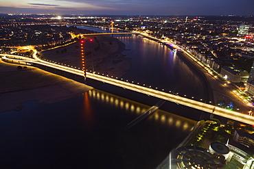 Aerial view of Rheinkniebrucke at night in Dusseldorf, Germany, Dusseldorf, North Rhine-Westphalia, Germany