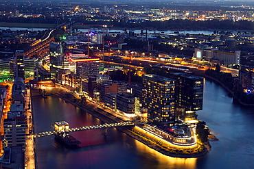 Aerial view of Dusseldorf at night in Germany, Dusseldorf, North Rhine-Westphalia, Germany