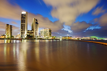 Harbor and cityscape of Corpus Christi at night in Texas, Corpus Christi, Texas, USA