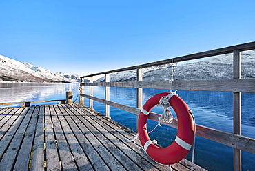 Life preserver on pier in Tromso, Norway