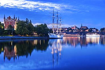 Ship on river at sunset in Stockholm, Sweden
