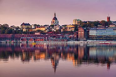 Skyline at sunset in Stockholm, Sweden