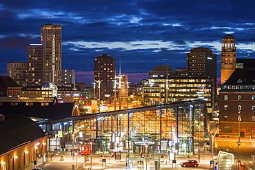 Cityscape at night in Malmo, Sweden