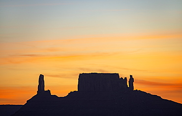 Silhouette of rock formations in Professor Valley in Arches National Park, Utah