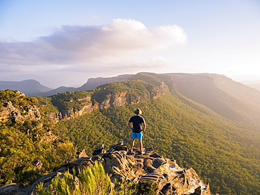 Man standing on peak of Blue Mountains in New South Wales, Australia