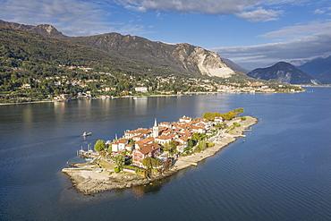 Aerial view of Isola dei Pescatori on Lake Maggiore, Italy