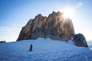Sunshine above rock formation in Bugaboo Provincial Park, British Columbia, Canada