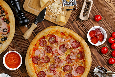 Meat pizza with ingredients
