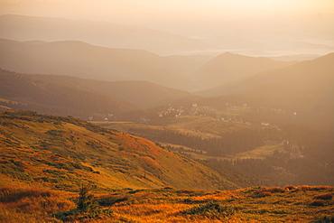 Mountains at sunrise in the Carpathian Mountain Range