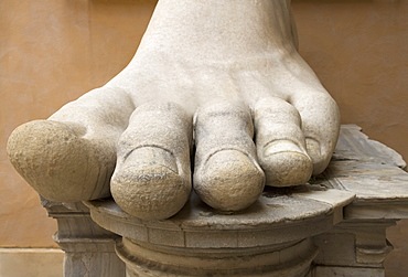 Close up of the foot of Constantine statue, Capitoline Museum, Italy