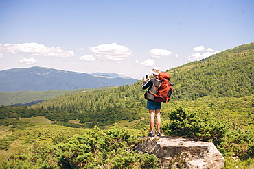 Man hiking in the Carpathian Mountain Range