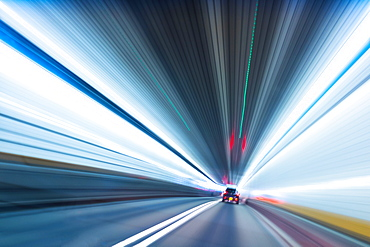 Long exposure of car in tunnel