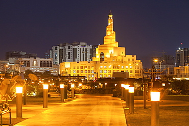 Abdulla Bin Zaid Al Mahmoud Islamic Cultural Center at night in Doha, Qatar