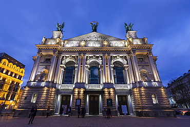 Low angle view of Lviv Theatre of Opera and Ballet at sunset in Lviv, Ukraine