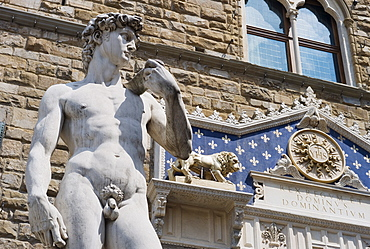 Low angle view of Michelangelo's David, Italy