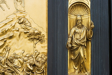 Ornate detail on door, The Gates of Paradise, Florence, Italy