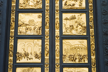 Ornate doors on The Gates of Paradise, Florence, Italy
