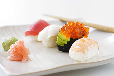 Close up of assorted sushi on plate