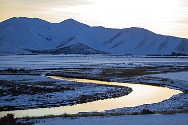 River and mountains at sunrise in Picabo, Idaho