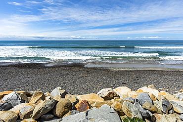 Rocks by beach in San Diego, California