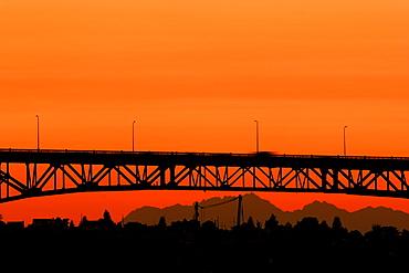 Bridge at sunset in Seattle, Washington