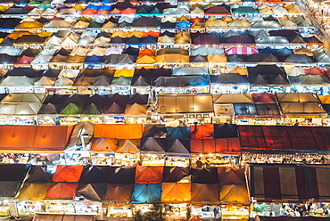 High angle view of night market in Bangkok, Thailand