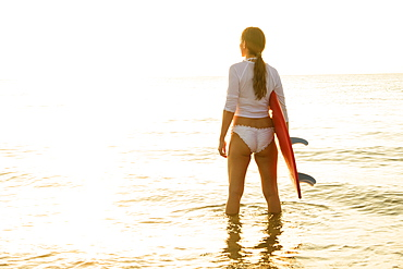 Woman holding surfboard in sea at sunset