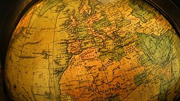 Close up of antique globe